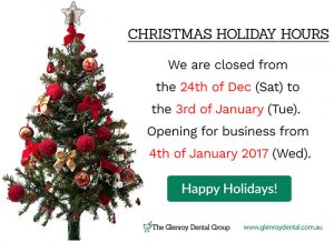 The Glenroy Dental Group Christmas Holiday Hours | Dentist Glenroy